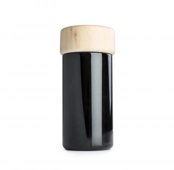 Glasdose mit Zirbenholzdeckel / Getreidefass