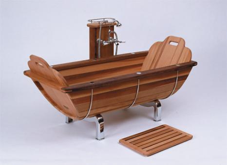 Badewanne, Holzbadewanne aus Zedernholz (Thuja)