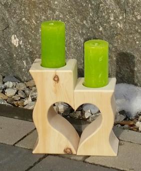 Zirben Kerzenständer mit Herz